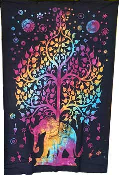 "54"" x 86"" Elephant Tree tapestry (tie dye)"