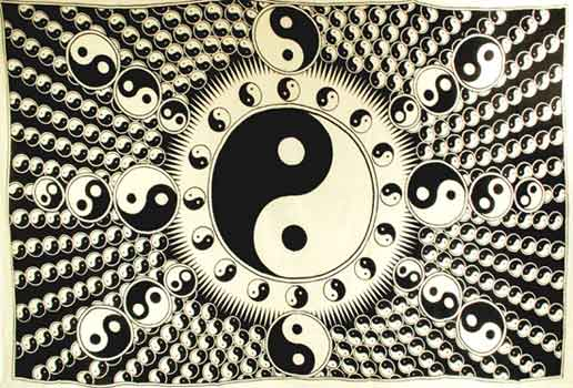 "White and Black Yin Yang (72"" x 108"")"